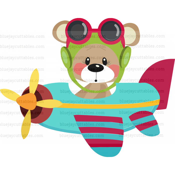Cute Bear Pilot Flying Airplane Cuttable SVG and Printable PNG File