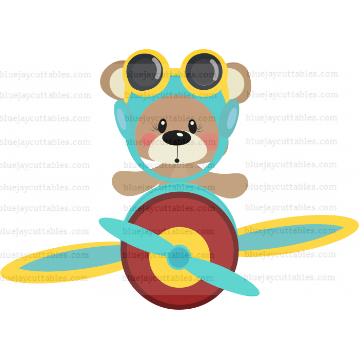 Cute Bear Pilot Flying Big Airplane Cuttable SVG and Printable PNG File