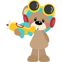 Cute Bear Pilot Holding Airplane Cuttable SVG and Printable PNG File