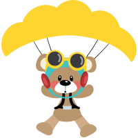 Cute Bear Pilot With Big Parachute Cuttable SVG and Printable PNG File
