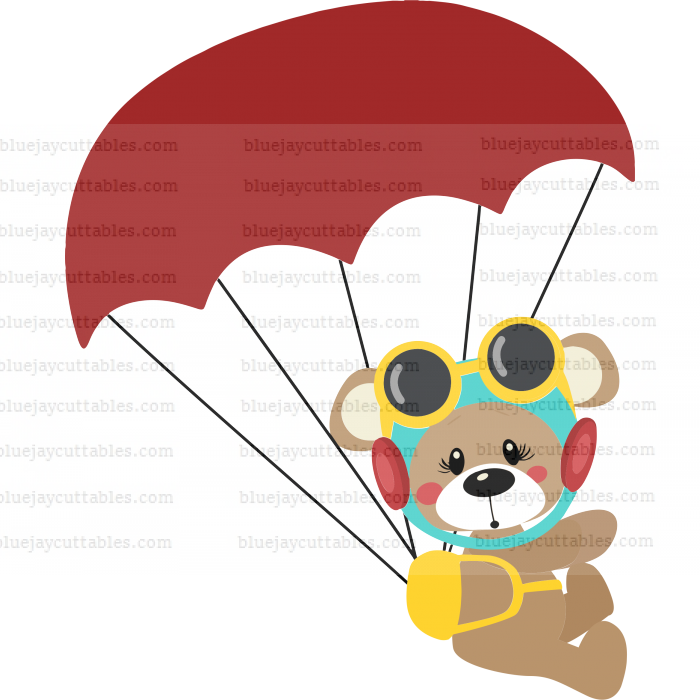 Cute Bear Pilot With Parachute Cuttable SVG and Printable PNG File