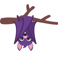 Halloween Bat Hanging Upside Down From The Branch Cuttable SVG and Printable PNG File