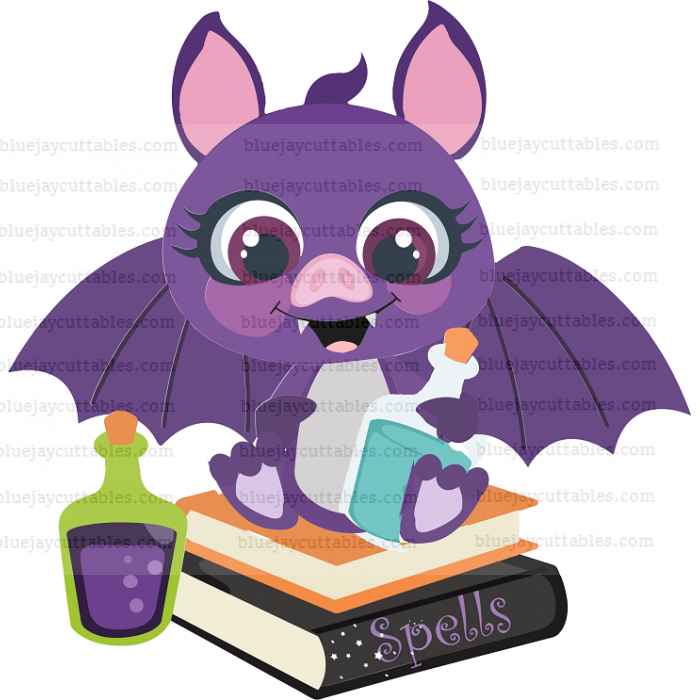 Halloween Bat Sitting On The Book Of Spells Cuttable SVG and Printable PNG File