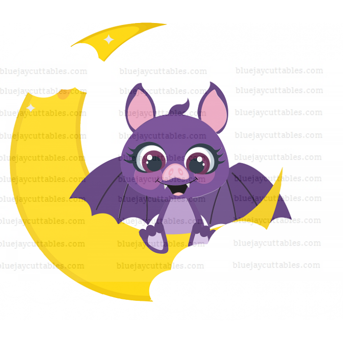 Halloween Bat Sitting On The Moon With Clouds Cuttable SVG and Printable PNG File