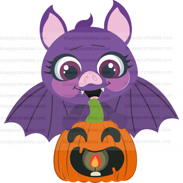 Halloween Bat Sitting On The Pumpkin Cuttable SVG and Printable PNG File