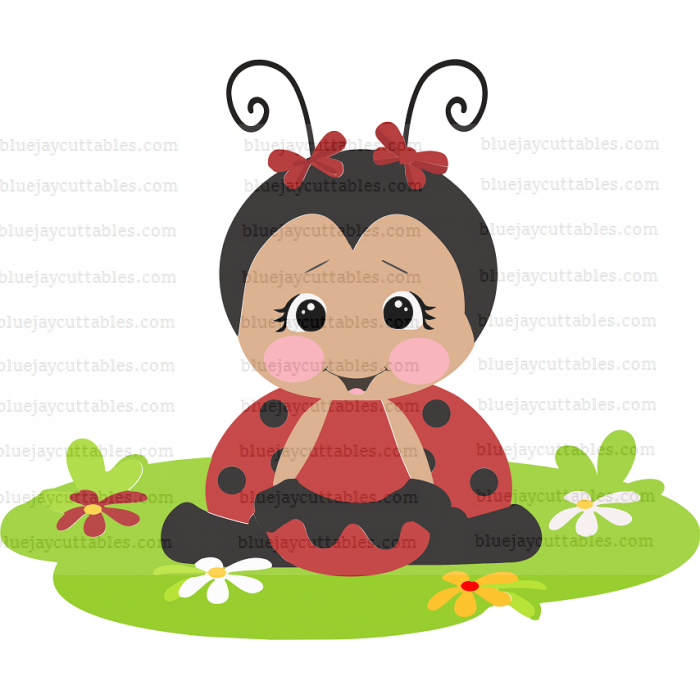 Cute Little Ladybug Sitting On the Grass Cuttable SVG and Printable PNG File