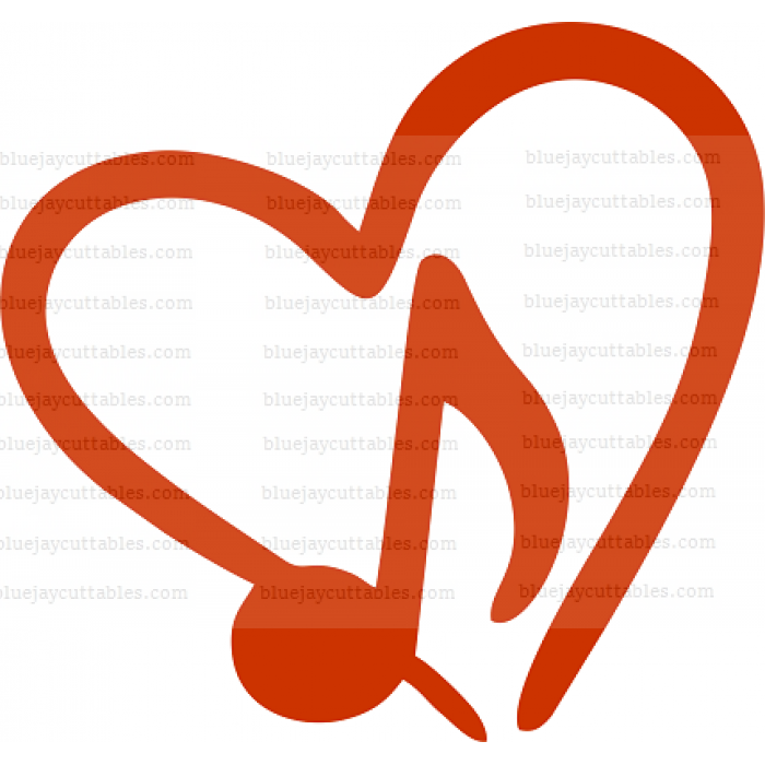 Eighth Note Heart Music Cuttable SVG and Printable PNG File