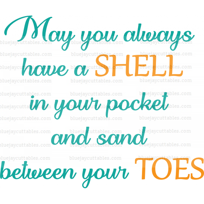 May You Always Have a Shell In Your Pocket And Sand Between Your Toes Cuttable SVG and Printable PNG File