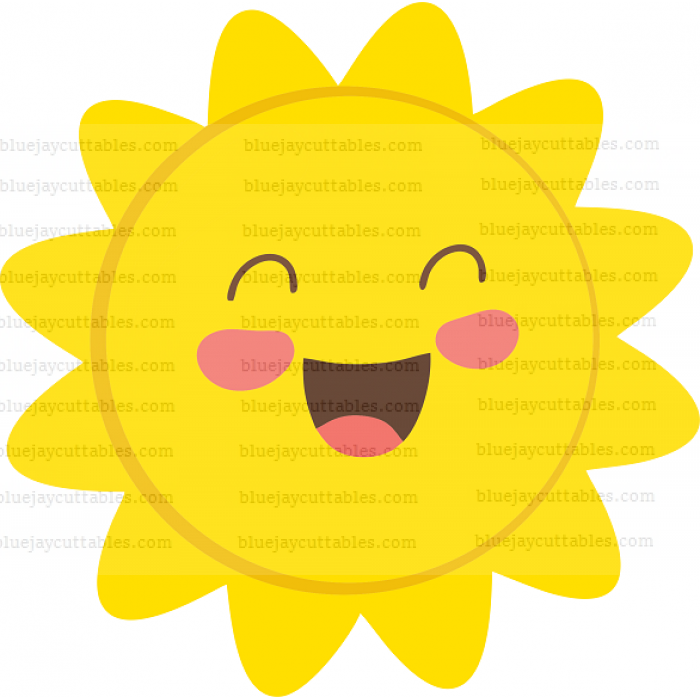 Smiling Sun Cuttable SVG and Printable PNG File