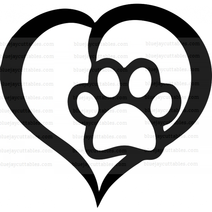 Heart Dog Paw Cuttable SVG and Printable PNG File