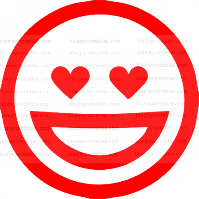 Big Smile Heart Shaped Eyes Emoji Cuttable SVG and Printable PNG File