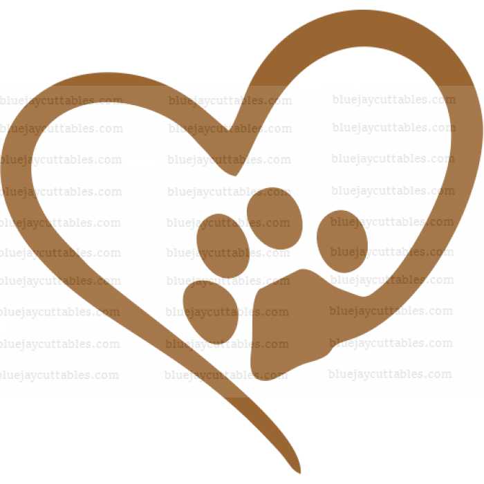 Dog Paw Inisde The Heart Cuttable SVG and Printable PNG File