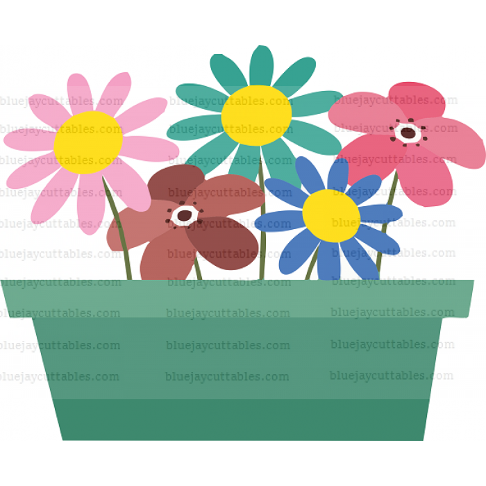 Flowers Growing In The Pot Cuttable SVG and Printable PNG File