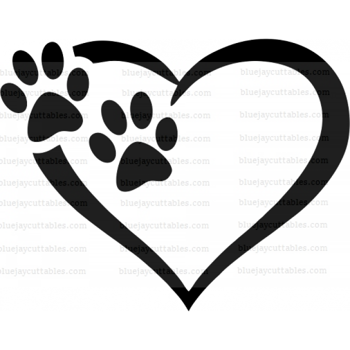 Two Dog Paws Inisde The Heart Cuttable SVG and Printable PNG File