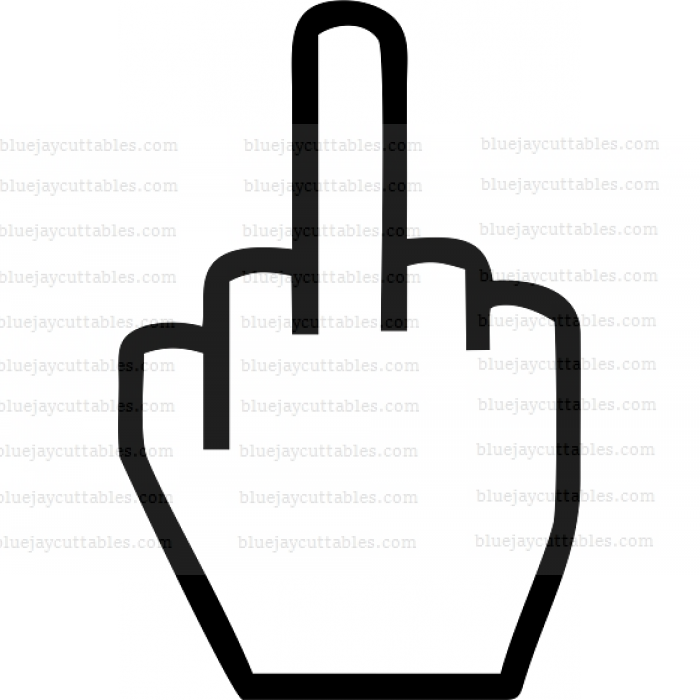 Middle Finger Outline Cuttable SVG and Printable PNG File