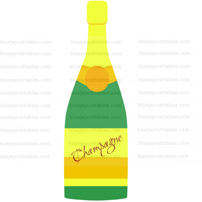 Bottle of Champagne Cuttable SVG and Printable PNG File