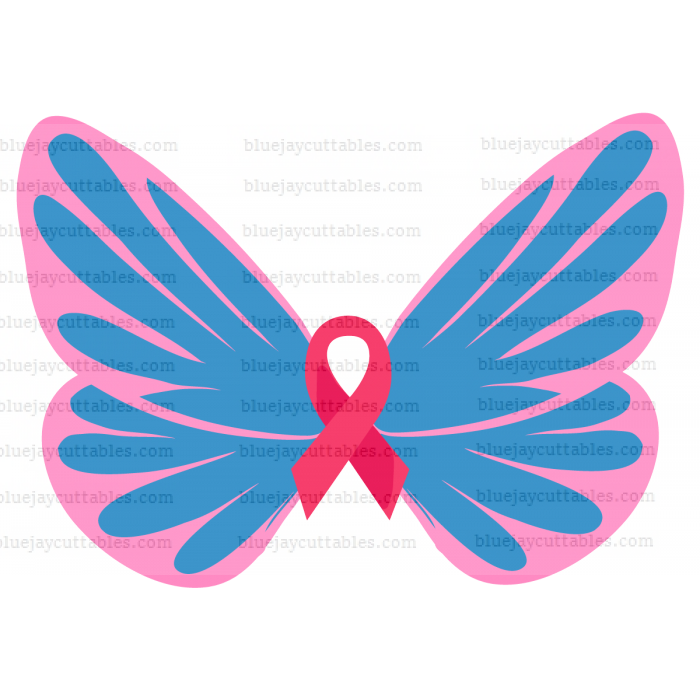 Butterfly With Ribbon Breast Cancer Awareness Cuttable SVG and Printable PNG File