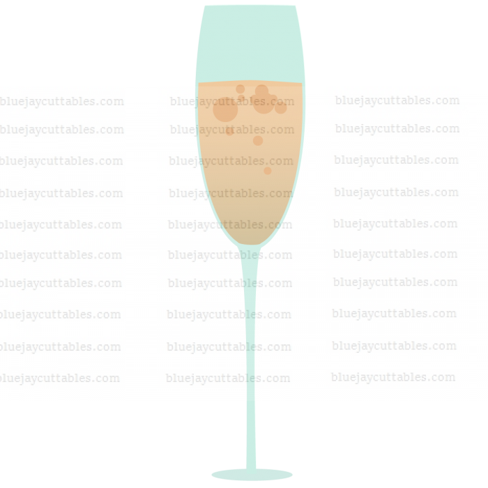 Champagne Glass Cuttable SVG and Printable PNG File