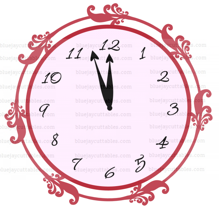 Clock Almost Strikes Twelve New Year Cuttable SVG and Printable PNG File