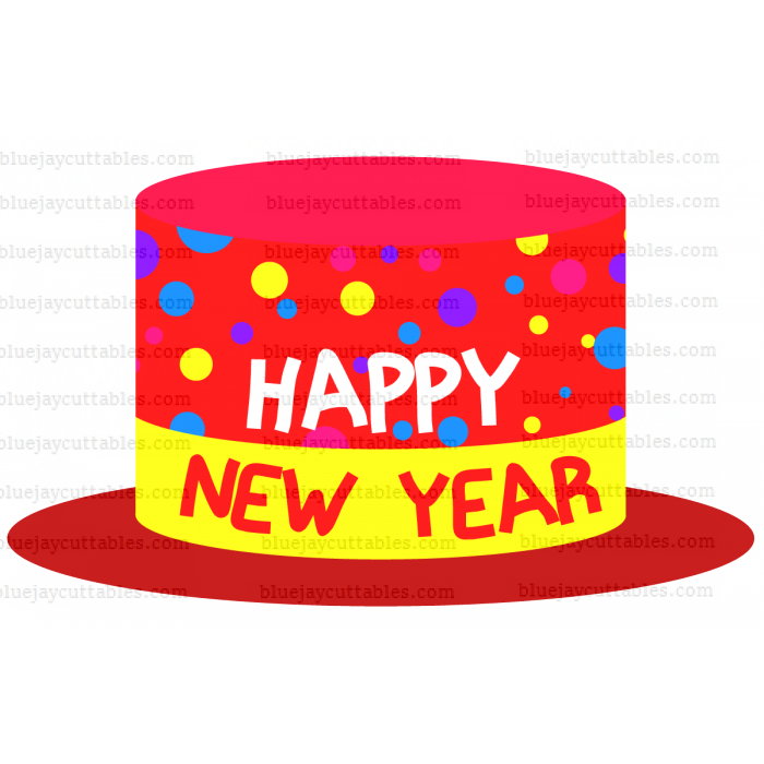 Happy New Year Hat Cuttable SVG and Printable PNG File