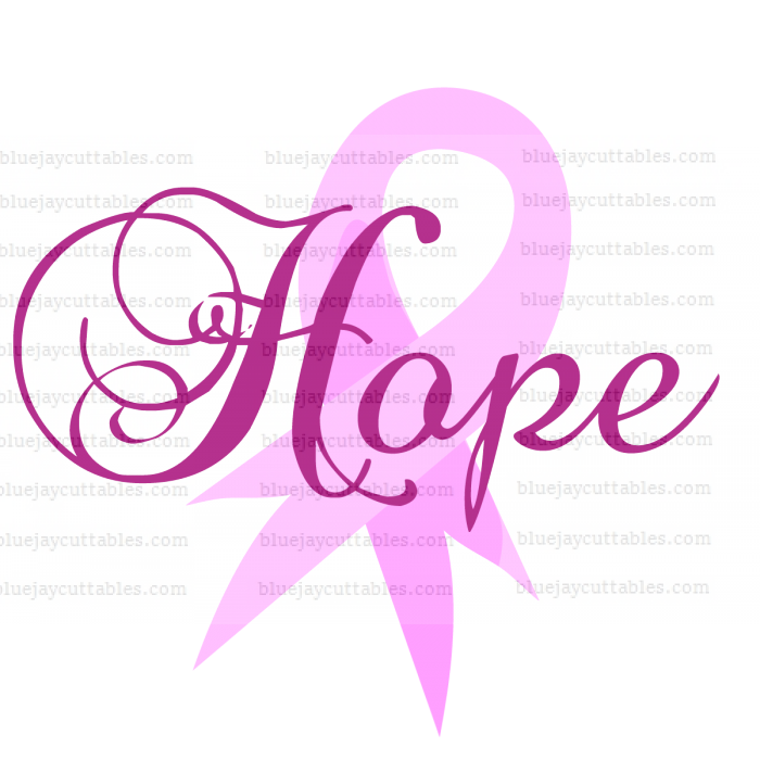 Hope Breast Cancer Awareness Ribbon Cuttable SVG and Printable PNG File
