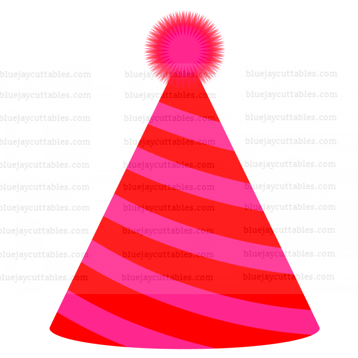 Red Party Hat Cuttable SVG and Printable PNG File