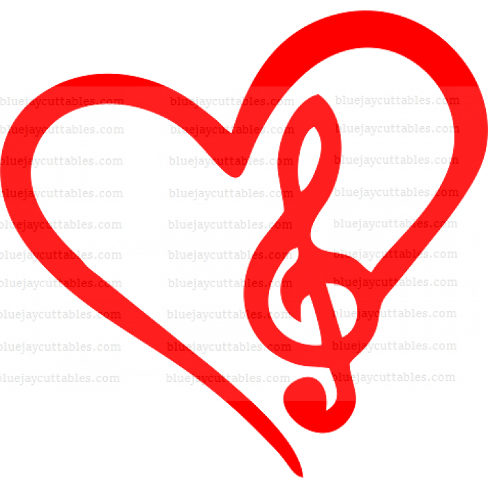 Heart With a Music Clef Symbol Cuttable SVG and Printable PNG File