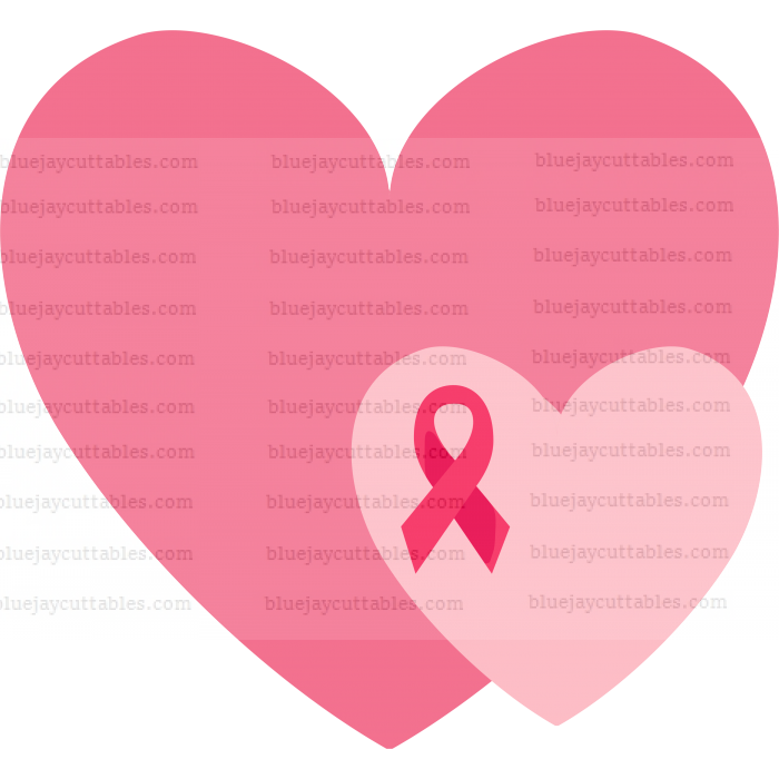 Two Hearts With Ribbon Breast Cancer Awareness Ribbon Cuttable SVG and Printable PNG File