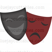 The Comedy and Tragedy Happy And Sad Masks Cuttable SVG and Printable PNG File