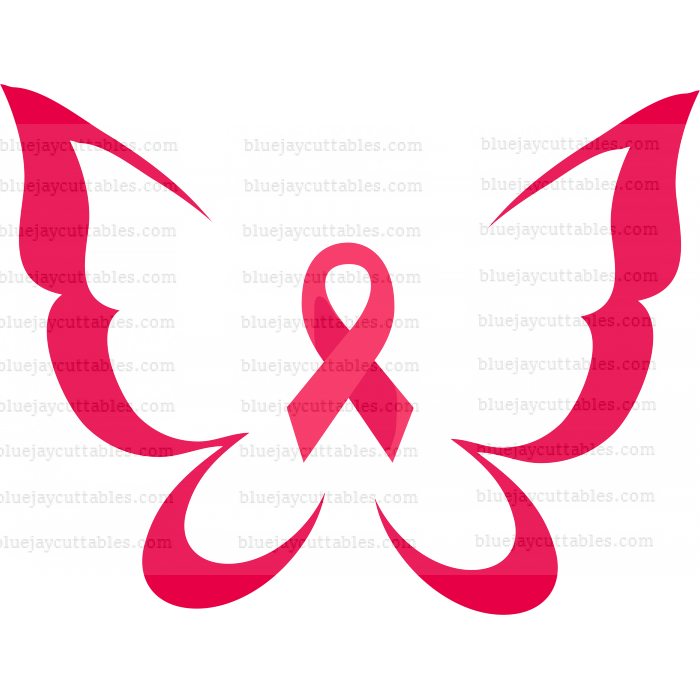 Butterfly With Ribbon Breast Cancer Awareness Ribbon Cuttable SVG and Printable PNG File