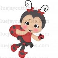 Cute Girl Ladybug Holding a Little Ladybug Cuttable SVG and Printable PNG File