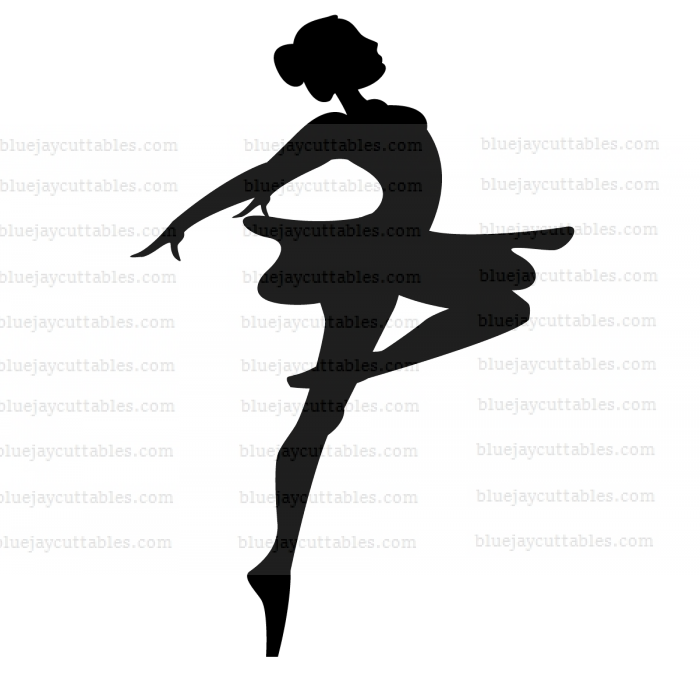 Jumping Ballerina Silhouette Cuttable SVG and Printable PNG File
