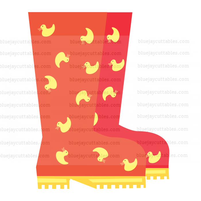 Red Rain Boots Cuttable SVG and Printable PNG File