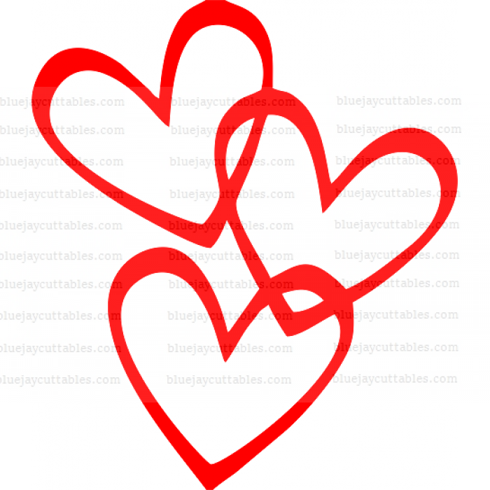 Three Interlocking Hearts Cuttable SVG and Printable PNG File