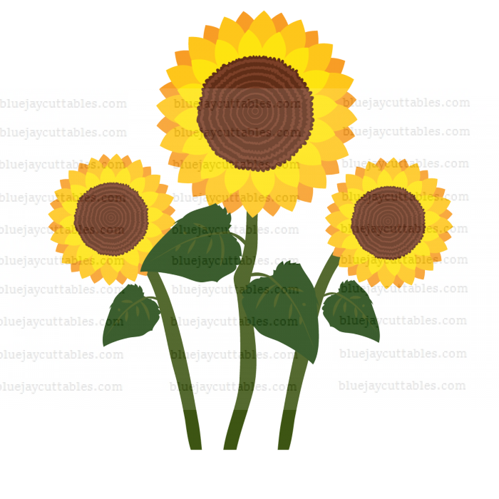 Three Sunflowers Cuttable SVG and Printable PNG File