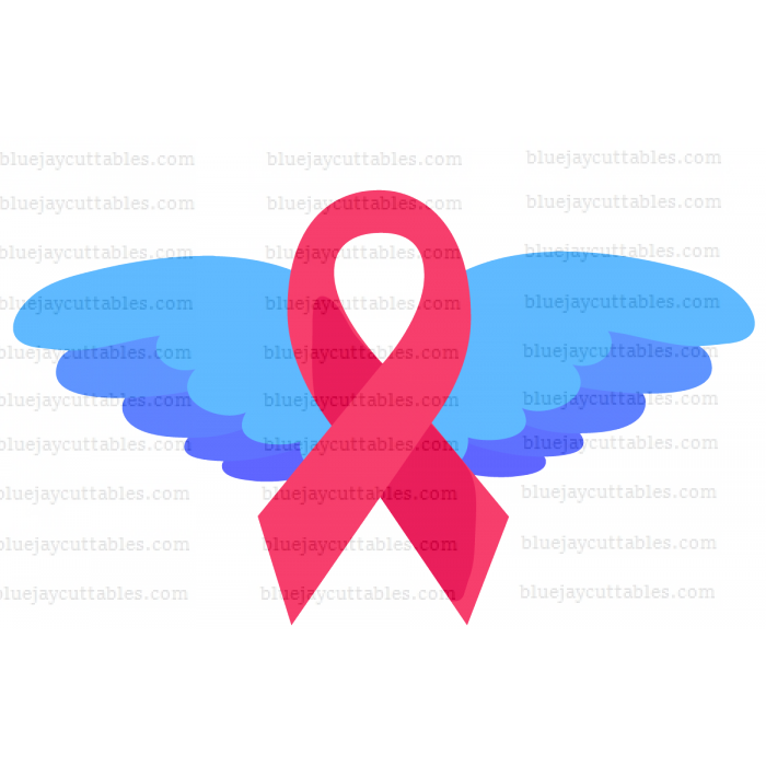 Breast Cancer Awareness Ribbon With Wings Cuttable SVG and Printable PNG File